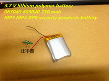 1pcs 3.7 V lithium polymer battery 063040 603040 750 mah MP3 MP4 GPS Tablet polymer battery