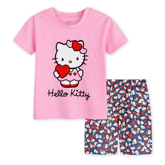 0ed0ba2dd Children's sets Cat Hello Kitty Girs T shirt Short Pants 2017 New Cartoon  Cotton Animal Hello Kitty Summer Pajamas For Girls