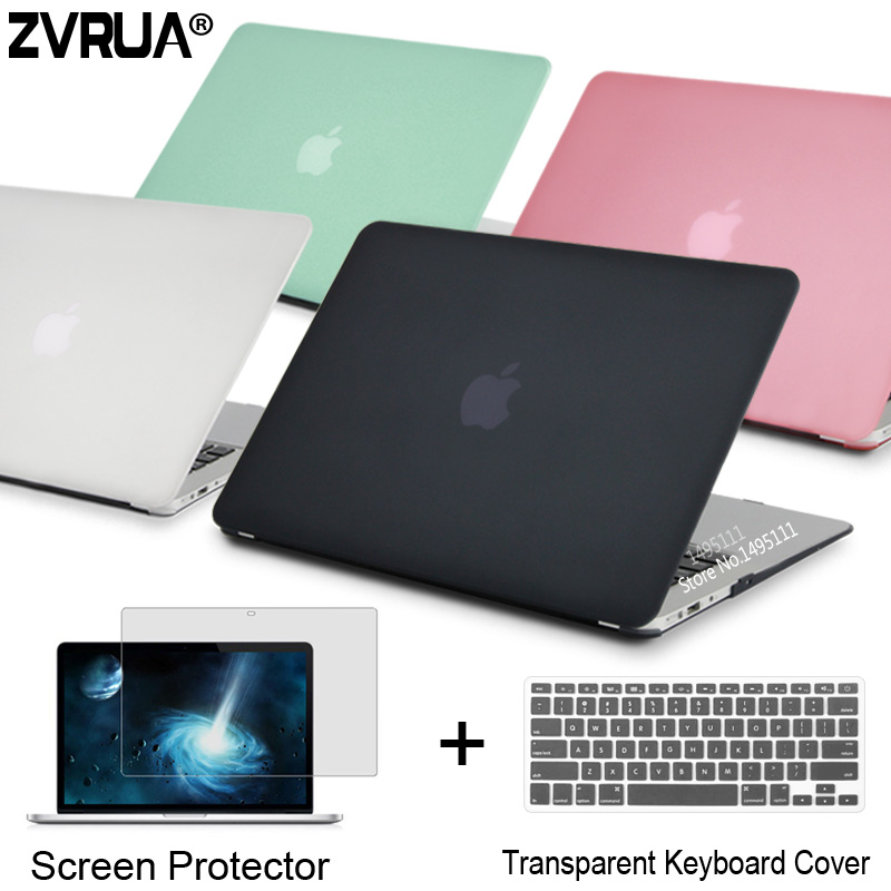 ZVRUA Laptop Case For Apple MacBook Air Pro Retina 11 12 13 15 for mac book New Pro 13 15 inch with Touch Bar+ Keyboard Cover crystal case for apple macbook air 13 3 11 pro 13 12 15 retina laptop print cover 2016 2017 new touch bar model keyboard cover