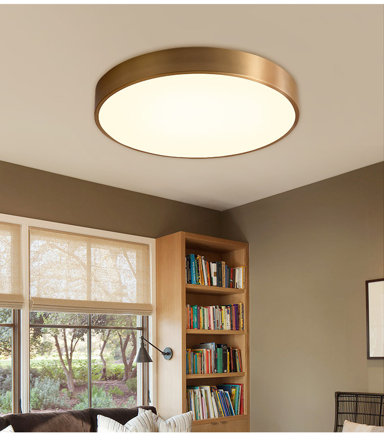Gold Crcular LED Ceiling Light Living Room Bedroom Lighting Acylic Iron Modern Luxury Lamps Bedroom Restaurant Aisle Corridor
