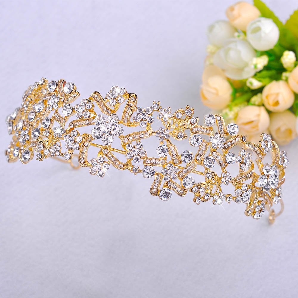 New Retro Crown hairband Gold-color Tiara jewelry crystal hair ornaments charming bridal wedding accessories Gifts