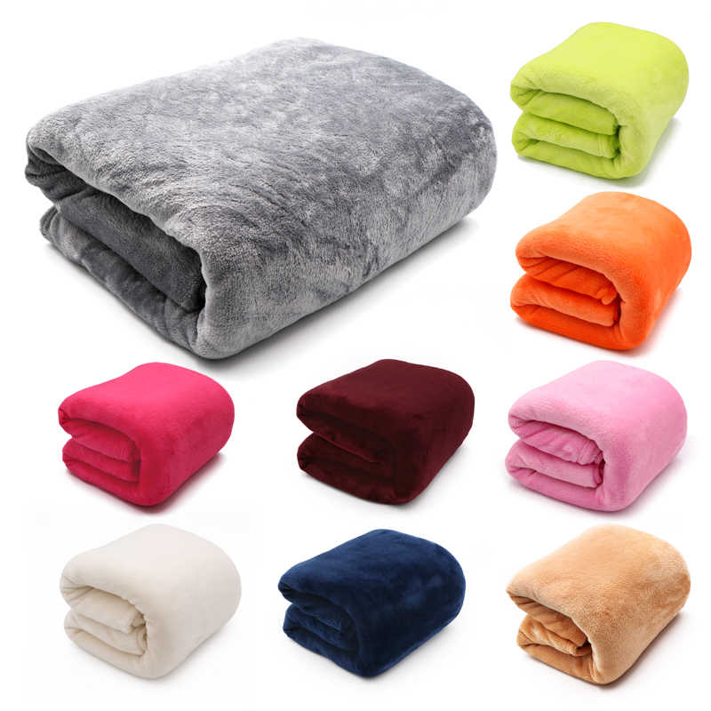 Light Thin  Mechanical Wash flannel Blanket Plaids super warm soft blankets throw on Sofa/Bed/ Travel patchwork solid Bedspread