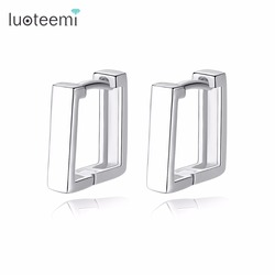 LUOTEEMI Stud Earrings 925 Sterling Silver Square Shape Charm Fascination Enchantment Fashion Vogue For Women Girl Party Prom