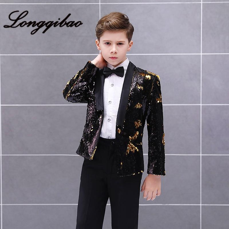 bebe menino conjunto criancas trajes de piano modelo estudio passarela anfitriao moda lantejoulas terno jaqueta calcas