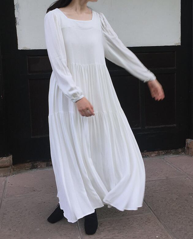 Taille Couleur Automne Lâche Élégant Chaude Blanc Vente Grande Robe Sp1064 Lin PlisséeOccasionnel Pur tdQhrCs