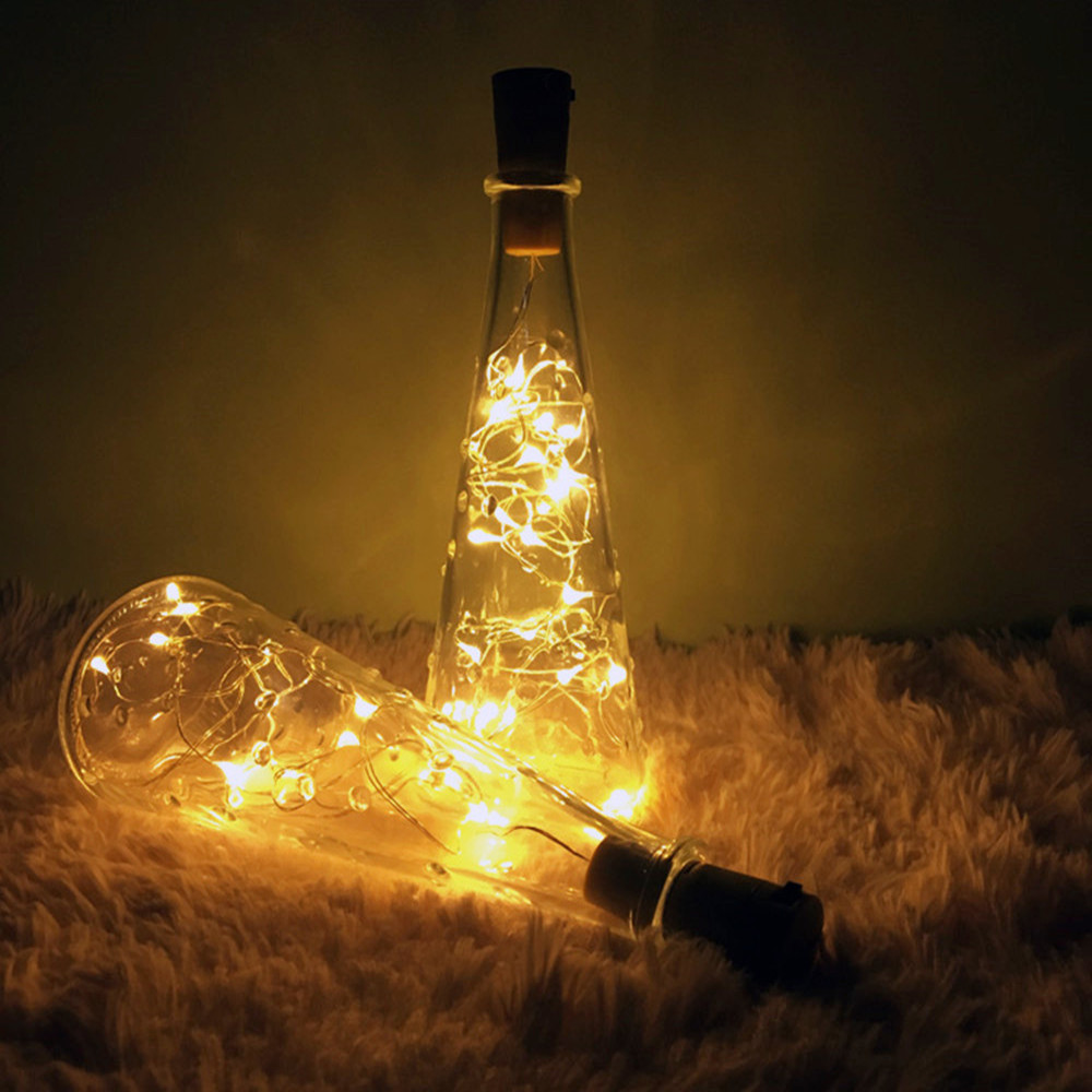 Cork Shaped Wine Bottle Lights 1m 2m DIY LED String Light with Bottle Stopper Decoration for Alloween Christmas Holiday Party in LED String from Lights Lighting