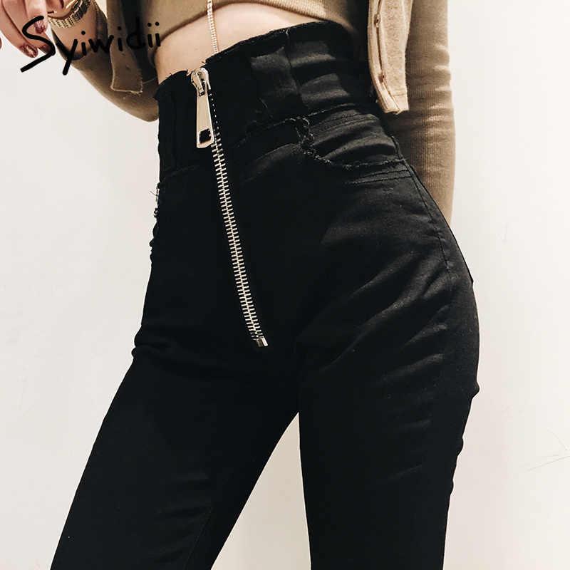 84a43ea0ab9 Высокая талия черный джинсы женские корейские модные женские тянущиеся Джинсы  женские Потертая джинсовая ткань обтягивающие узкие