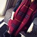 Осень Зима люксовый Бренд Плед Кашемир Шарф Женщины Негабаритных Шарфа longScarf Женщины Пашмины Шали и Шарфы F072