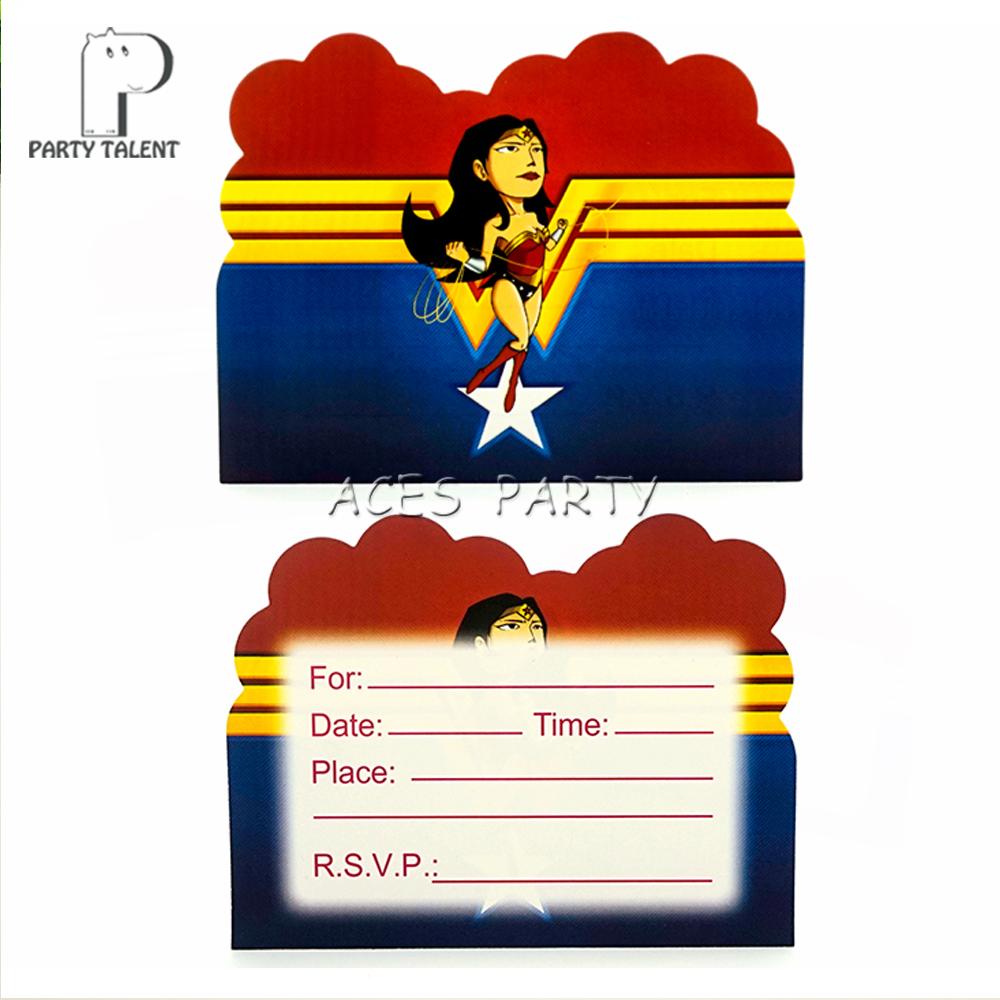 Suministros De Fiesta 8 Uds Liga De La Justicia Wonder Woman Tema Invitación Tarjeta Invitaciones Para Niños Fiesta De Cumpleaños Decoración