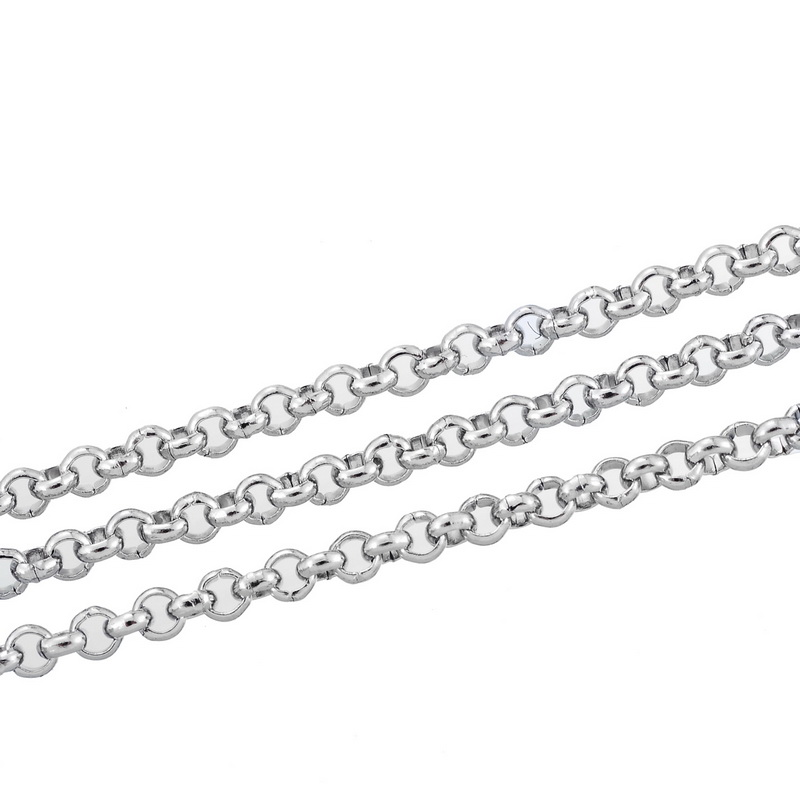 LASPERAL 10M Silver Tone Stainless Steel Link-Opened Chain For Necklace 2.5mm DIY Jewelry Findings Components For Handmade Gifts
