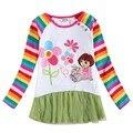 Девушка t shirt in the night garden детские весна/осень длинные рукава одежды печатных цветочные девочка футболка 100% хлопок F4998