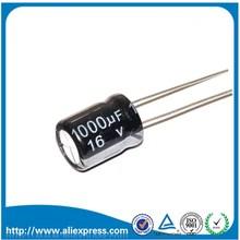 20 шт 1000 мкФ 16 V 16 V 1000 мкФ Алюминий электролитические конденсаторы размером 8*16 мм 16 V/1000 мкФ электролитический конденсатор с алюминиевой крышкой