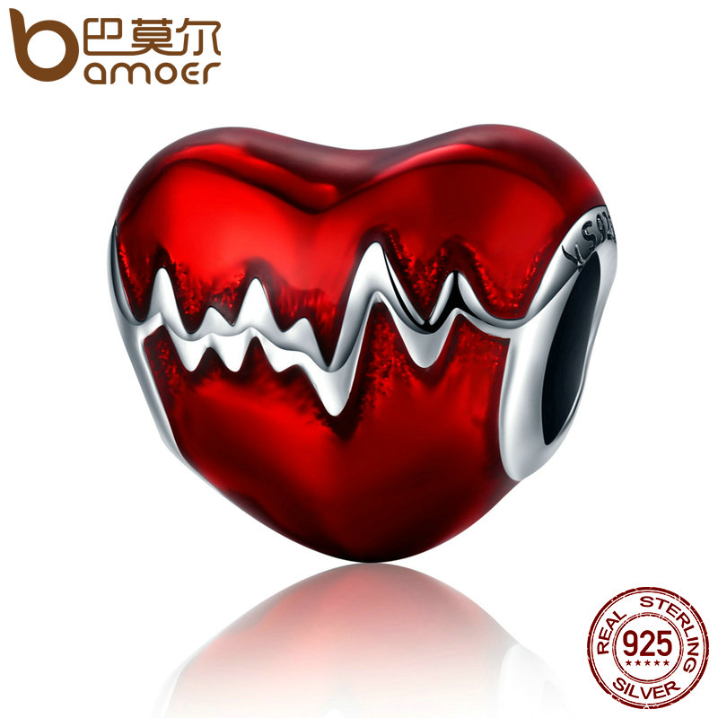 BAMOER New Arrival 100% 925 Sterling Silver Love Heart ECG & Red Enamel Beads fit Charm Bracelets for Women Jewelry Gift SCC249 new s925 sterling silver bell red string rope bracelets lucky beads red thread bracelets