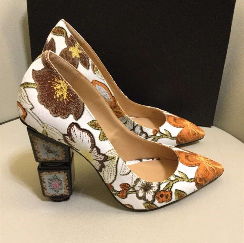 rojo Alto Nueva Cuero Llegada Moda Zapatos Pumpms Tacones Negro De naranja Alta Vintage Bordado verde Tacón Real By599 Mujer OqUrqSxXgn
