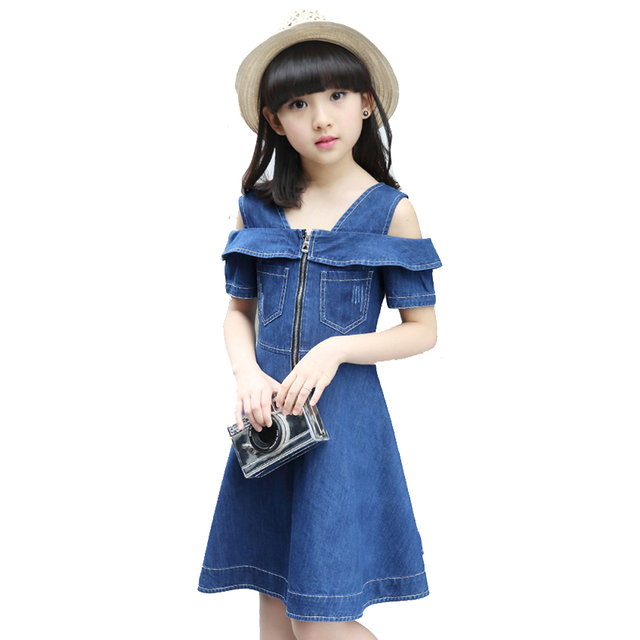 698a70f19b4 Girls Denim Dresses for Children Jean Clothes 2018 New Fashion Casual Dress  Blue Short Sleeve Jeans