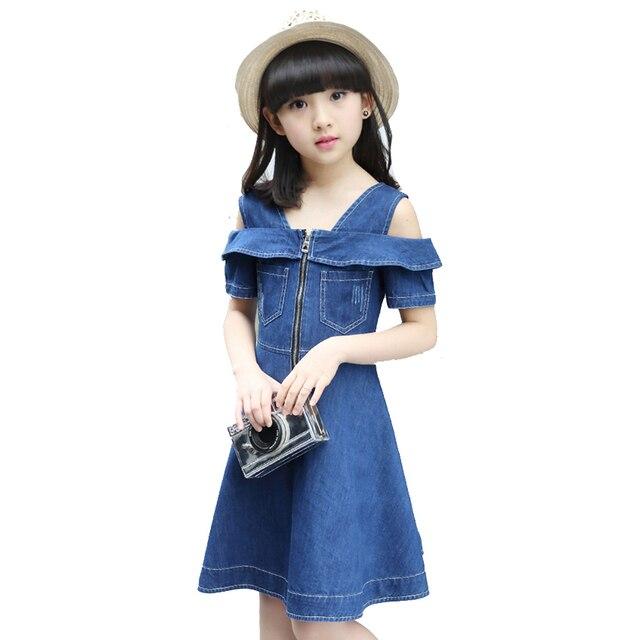 9ee416fa03969 Niñas Denim Vestidos para niños Jean ropa 2018 nueva moda casual vestido  azul manga corta Vaqueros