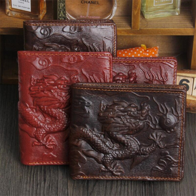 749826dc70 Classic Wallet Men Chinese Red Dragon Totem Genuine Leather Men Wallet  Small Men Purse Male Short