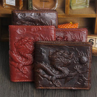 Classic Wallet Men Chinese Red Dragon Totem Genuine Leather Men Wallet Small Men Purse Male Short Coin Purse Brand Carteira
