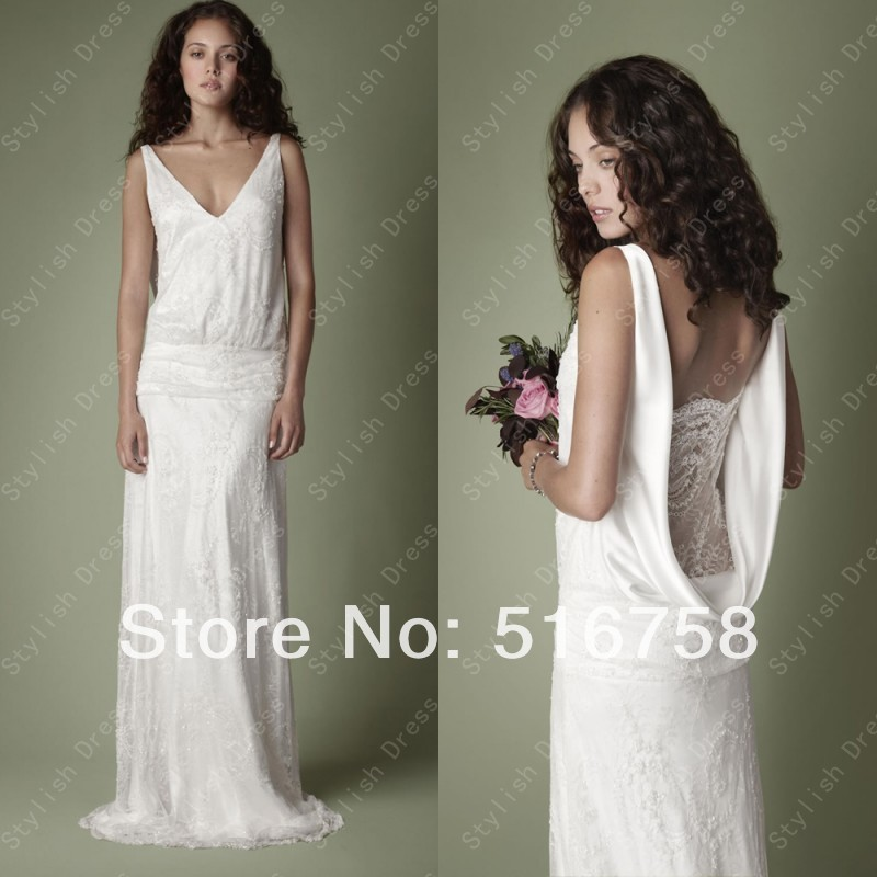 V Neck Cowl Low Back Lace White Long Bridal Gown Lace