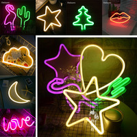 2018 Hot Neon Star Cloud Moon Cactus Lips Flamingo Tree LED Bulb Battery Table Lamp Wall