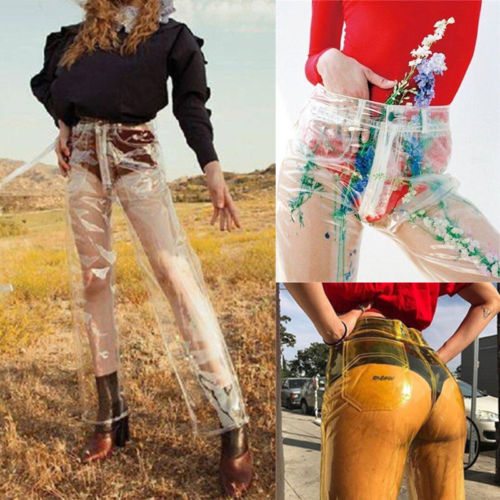Fashion Women Summer Autumn Pants See-through Plastic Pants Sexy Ladies Modern Trousers Water Proof Long Transparent Pants Crease-Resistance