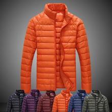 Мода тонкий черный зеленый синий оранжевый зимняя куртка человек мужчин вниз куртка короткие 1 утка вниз куртки мужские куртки одежда 3XL