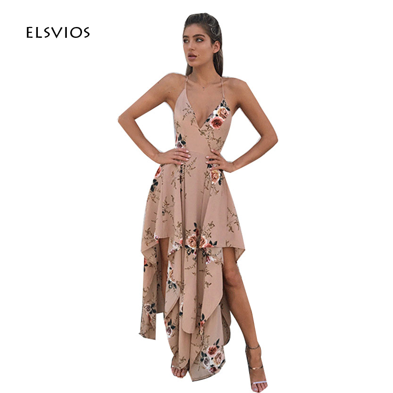 ᗕElsvios 2017 moda floral impreso vestido largo mujeres Correa V ...