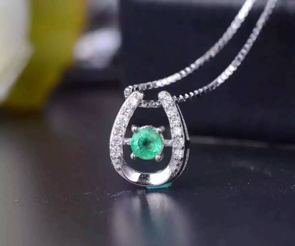 natural green emerald stone pendant S925 silver Natural gemstone Pendant Necklace trendy Elegant Simple compact women