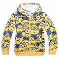 Girls&Boys Hoodies And Sweatshirts 2016 Winter Cotton Hooded Minion Children Hoodies Warm Children Outerwear Kids Clothes k30393