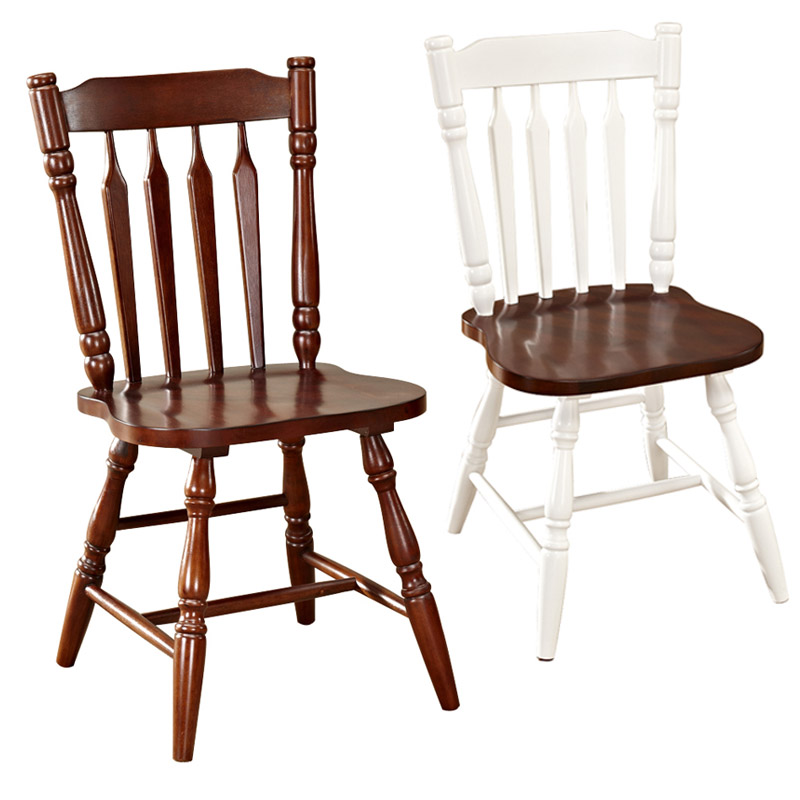 American Style Dining Chair White Solid Wooden Dining Chair Mediterranean Chair Backrest Chair