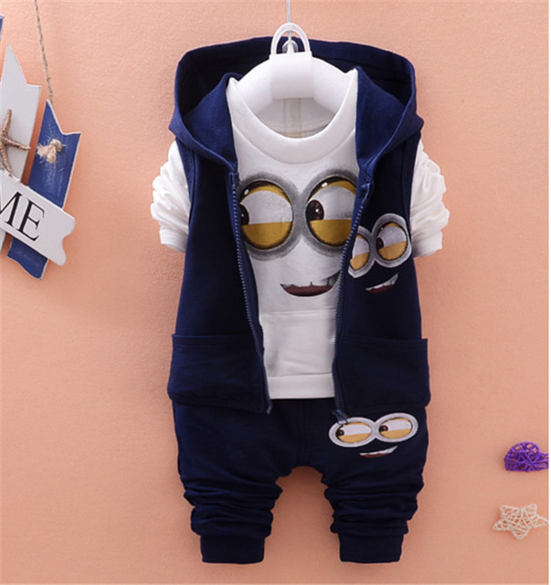Spring Autumn Children Girls Boys Minion Suits Infant/Newborn Clothes Sets Kids Vest+T Shirt+Pants 3 Pcs/Sets Children Suits