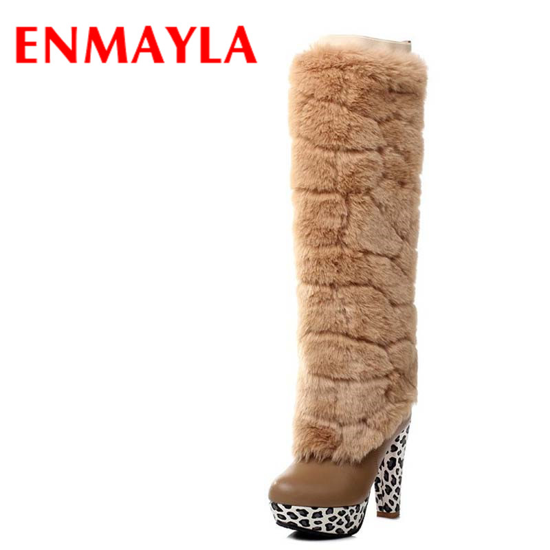 ENMAYLA New White Shoes Woman Dual Wear Winter Warm Snow Boots Large Size 34-43 Platform Round Toe Zipper  Knee-high Boots enmayla ankle boots for women low heels autumn and winter boots shoes woman large size 34 43 round toe motorcycle boots
