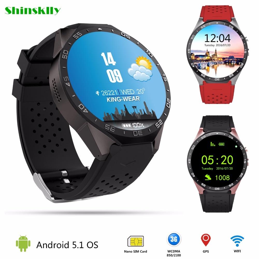 Telepon Smartwatch 3G kw88 Android 5.1 Cerdas Menonton 512MB + 4GB Bluetooth 4.0 WIFI Jam Tangan Mendukung Google GPS Map 2.0MP Camera