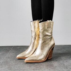 Image 2 - 2019 جديد الشتاء أحذية كاوبوي ل حذاء نسائي بكعب عالٍ الفراء داخل الغربية الأحذية حذاء من الجلد للنساء موضة الذهب الفضة حذاء امرأة