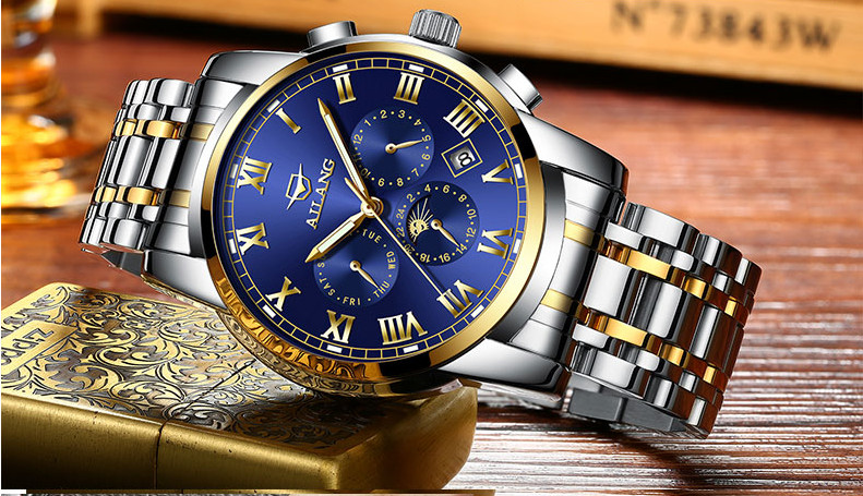 AILANG Blue Luxury Watch Men Automatic Stainless Steel Watch Male Moon Phase and Calendar Business Mechanical Watches A043 vik max adult kids dark blue leather figure skate shoes with aluminium alloy frame and stainless steel ice blade