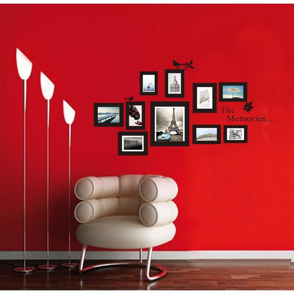 10x imagen foto Frame Set pared Mural negro boda marcos etiqueta engomada de la