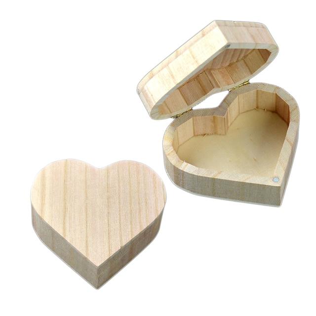 New Arrive Storage Bo Love Heart Shape Wood Box Jewelry Wedding Gift Home Bin