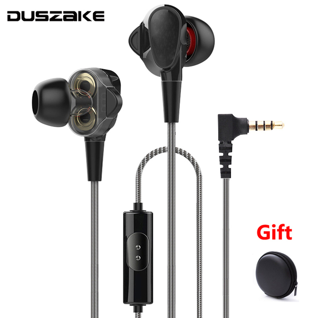 Duszake  Stereo Bass Headphone In Ear 3.5MM Wired Dual driver Earphones Metal HIFI Earpiece with MIC for Xiaomi Samsung Phones