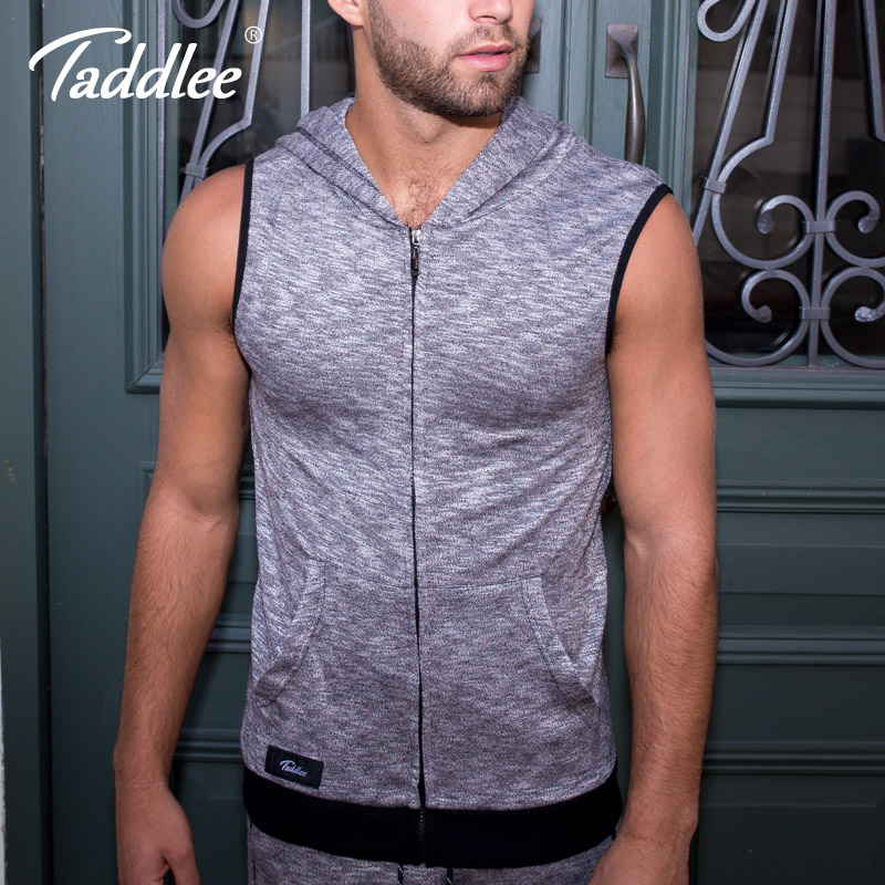 Vests Taddlee Brand Mens Waistcoat Hoodie Sleeveless Sweatshirt Zipped Up Vest Tank Top Hooded Cotton Active Streatwear New Running Vests
