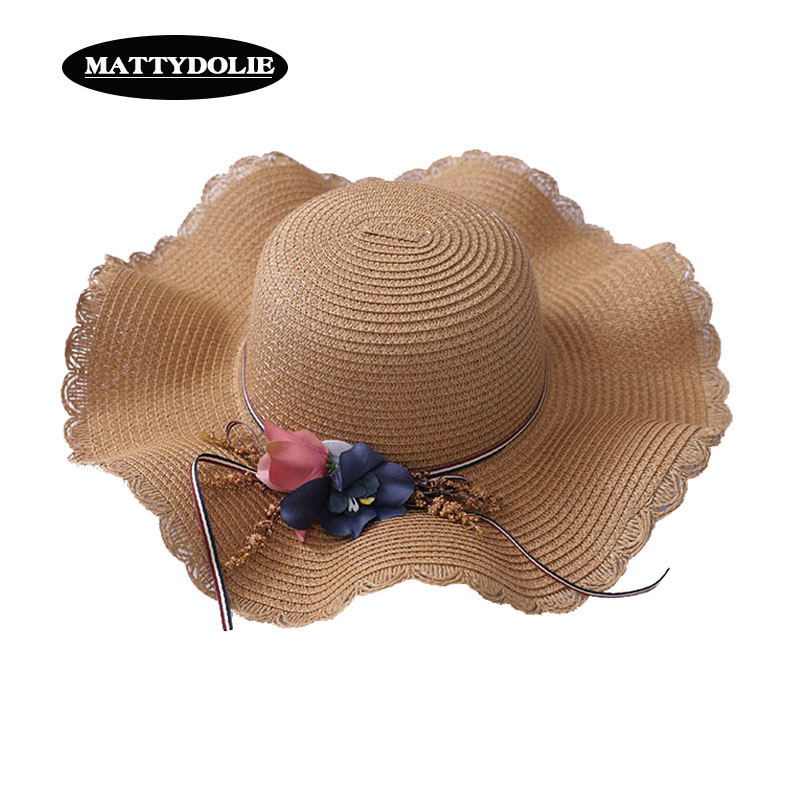 MATTYDOLIE Flower Straw Hat Girl Summer Dome Water Wave Wide Side Visor Beach Outdoor Seaside Sun 2019 New