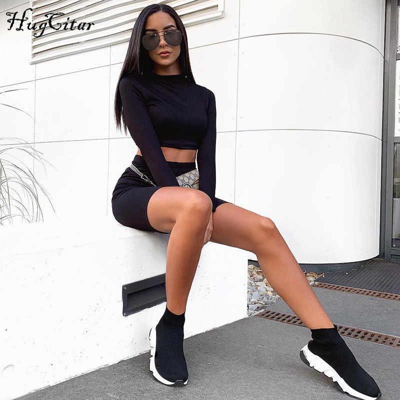 Hugcitar na szyję z długim rękawem elastyczne krótkie bluzki szorty 2 sztuk zestaw 2018 jesień zima kobiety moda casual stałe zestawy