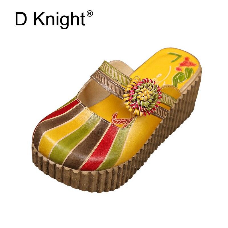 Fleur dames pantoufles en cuir véritable chaussures à la main diapositives Flip Flop sur la plate-forme sabots pour les femmes d'été sandales à talons compensées
