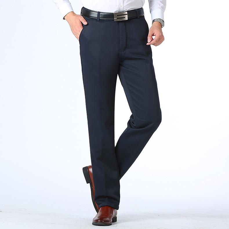 HTB1v0nBDXmWBuNjSspdq6zugXXao Autumn Winter Men Warm Fleece Classic Black Cotton Pants Mens Business Loose Long Trousers Quality Casual Work Pants Overalls