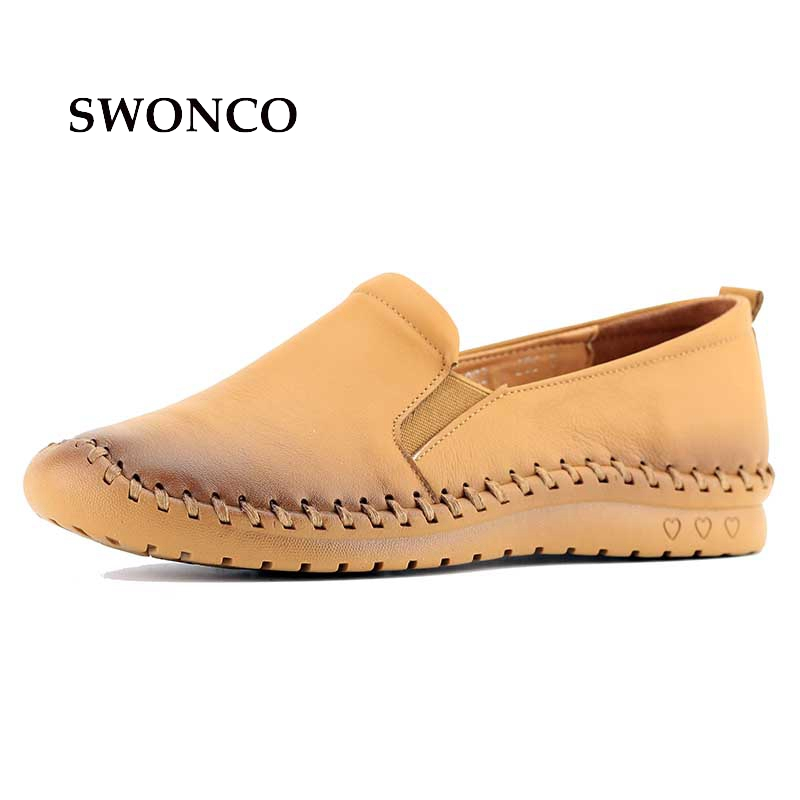 Women's Flats Shoes Woman Genuine Leather Slip-On Ladies Loafers Flat Shoes Women Black 2018 Spring Autumn Soft Mother Footwear timetang spring womens ballet flats loafers soft leather flat women s shoes slip on genuine leather ballerines femme chaussures