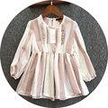 O Envio gratuito de 5 pçs/lote 3-8yrs Bebê da Menina Vestidos de Algodão de Linho