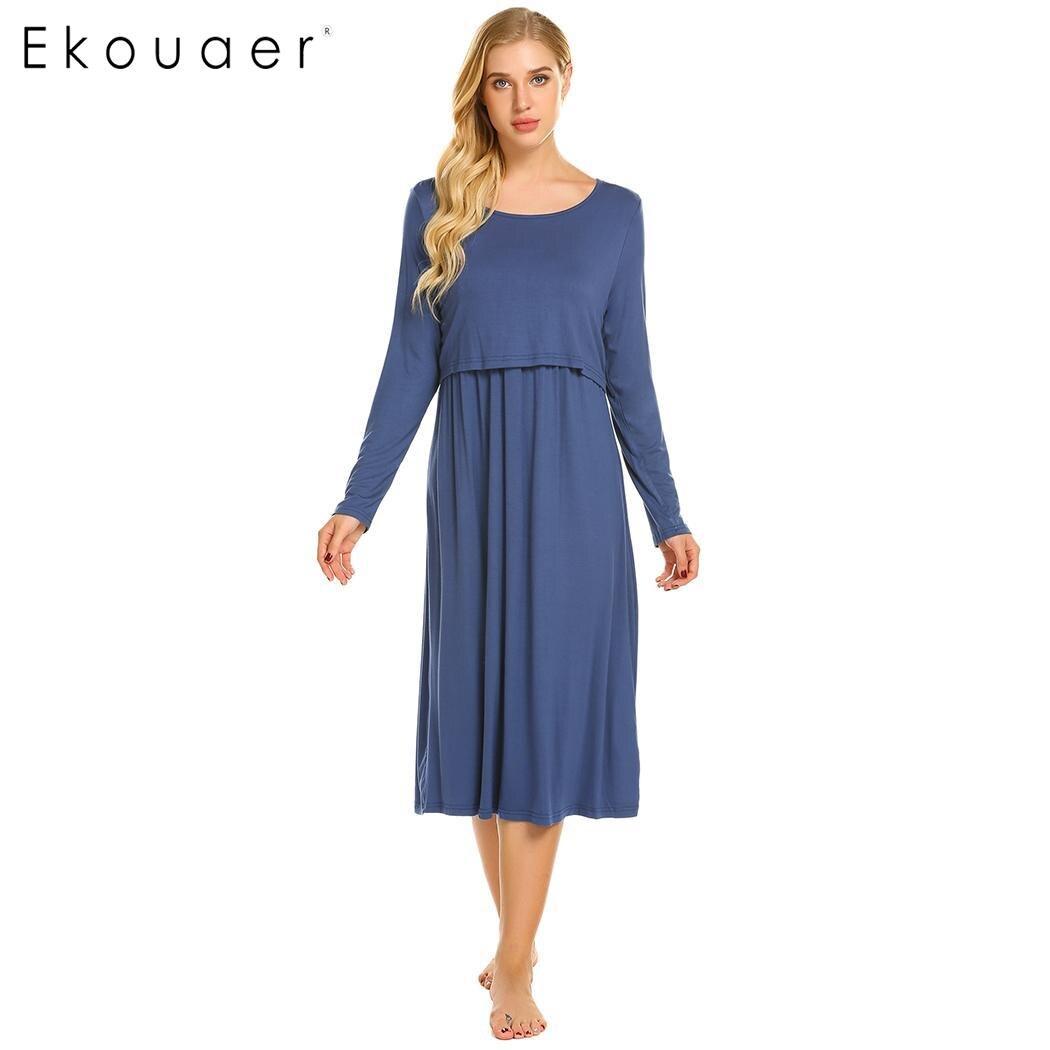 Ekouaer Maternity Nursing Night Dress Soft Cotton Nightgown Women ...