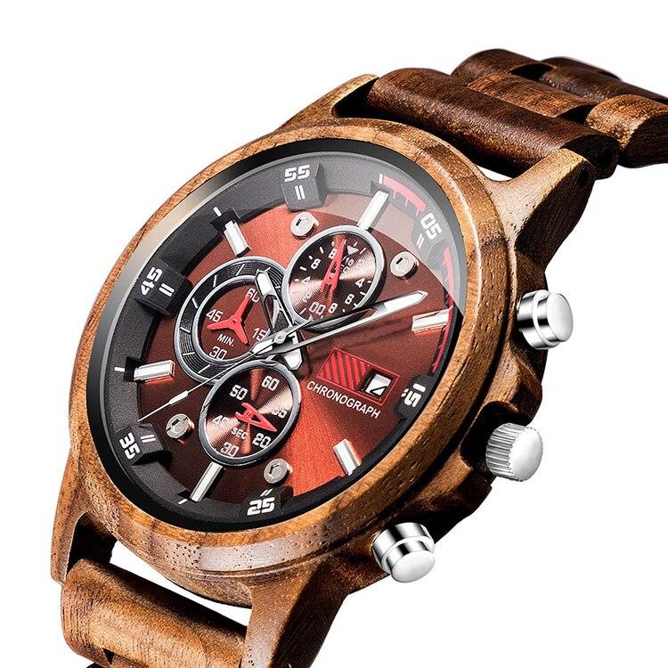 Wooden Watch Date-Display Men Luxury Military Quartz Sport Casual Relogio Chronograph