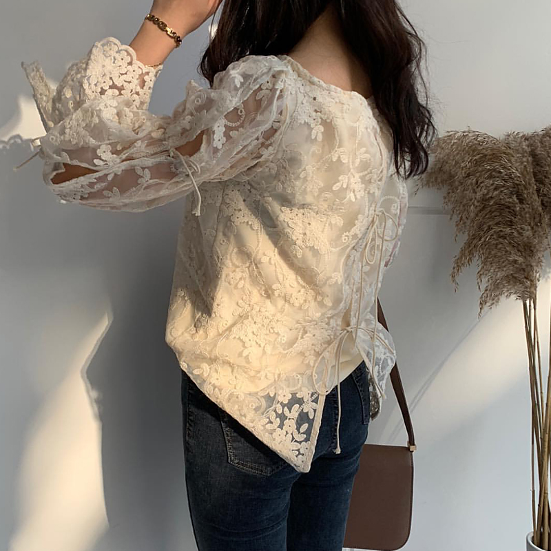 HTB1v0ndbovrK1RjSszfq6xJNVXaW - Spring / Summer O-Neck Long Sleeves Embroidery Floral Lace Blouse