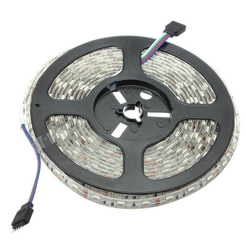 ФОТО 2pcs 5M 600 SMD 5050 Waterproof Mini IR Controller Flexible RGB LED Strip Light 12V DC With Power Supply