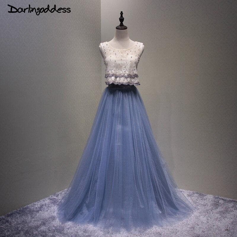 Robe De soirée bleu marine Robe De soirée dos ouvert dentelle avec perles femmes longues Tulle fête robes De soirée 2017 darlindéesse